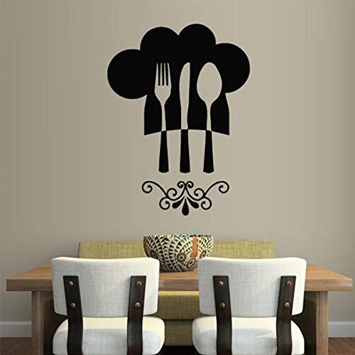 yaonuli lepel mes en vork wandtattoo keuken restaurant decoratie wand kok hoed grafische vinyl muursticker