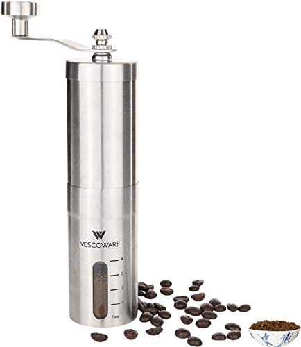 Manual Coffee Grinder with Conical Burr – Hand Burr Coffee Grinder with Adjustable Setting –...