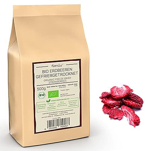 500g BIO Erdbeeren gefriergetrocknet in Scheiben - fruchtige BIO Erdbeer Chips ohne Zusätze - gefriergetrocknete Erdbeeren in biologisch abbaubarer Verpackung