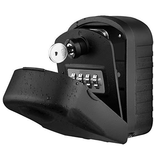 Caja para Llaves con Codigo ENONEO Grande Caja Seguridad Llaves Exterior con Llave de Emergencia Caja Fuerte Para Llaves para Oficina Casa, Garaje, Escuela [Versión Actualizada] Key Box Lock (Negro)