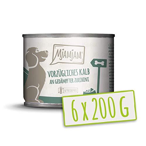MjAMjAM - Premium Nassfutter für Hunde - vorzügliches Kalb an gedämpfter Zucchini, 6er Pack (6 x 200 g), getreidefrei mit extra viel Fleisch