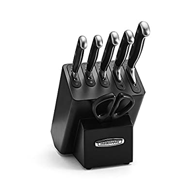 Farberware 5204467 Platinum Self-Sharpening Forged Japanese Steel Cutlery 7 Piece Set, Black