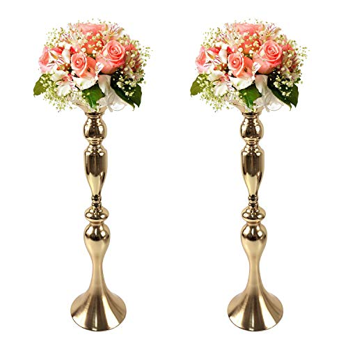 Gold Fortune 2 Pieces Metal Candle Holder Stand for Table Wedding Flower Rack Centerpiece Event (Gold-19.5')