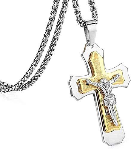 Collar Collar Christian Jesus Crucifijo Collares pendientes Hombres Regalos Cadenas de eslabones cruzados de acero inoxidable pesado Joyería religiosa de metal masculino para mujeres Hombres