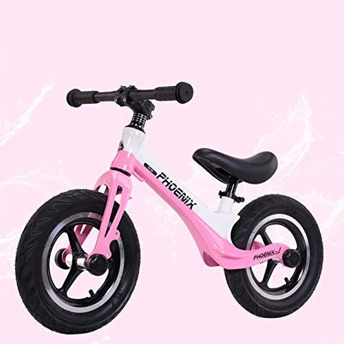 Seguridad Bicicleta sin Pedales para Niños Bicicleta de Equilibrio Aleación de magnesio Balance Bike con Sillín Ajustable, White Powder
