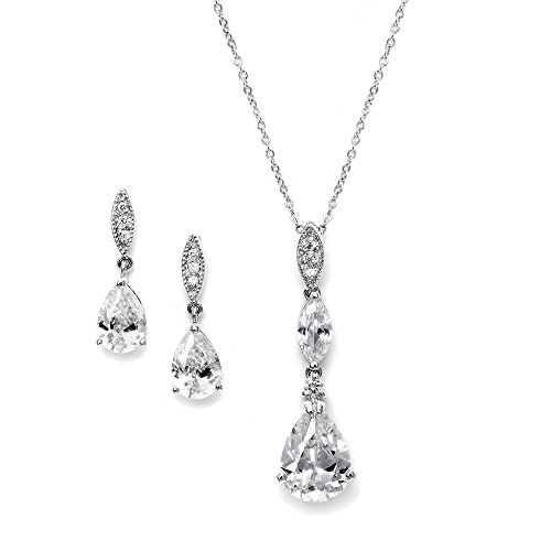 Mariell Platinum Plated Pear-Shaped CZ Bridal, Bridesmaids or Prom Necklace and Earring Set