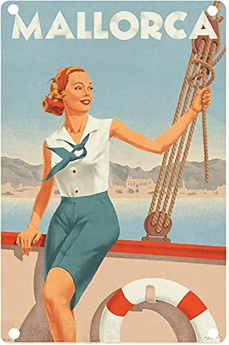 YY-one Placa de metal para decoración de pared, diseño retro de barco de Mallorca