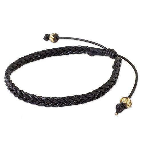 NOVICA Braided Black Leather Men's Bracelet with Bone Beads, 8.5' 'Single Black Braid'