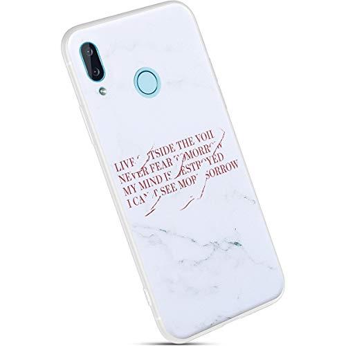 Ysimee Compatible avec Coque Huawei Nova 3 Silicone Motif Ecriture Série de Marbre Housse Matte Case Ultra Mince Souple TPU Étui de Protection avec Anti-Rayures Absorption des Chocs Bumper,Écriture A
