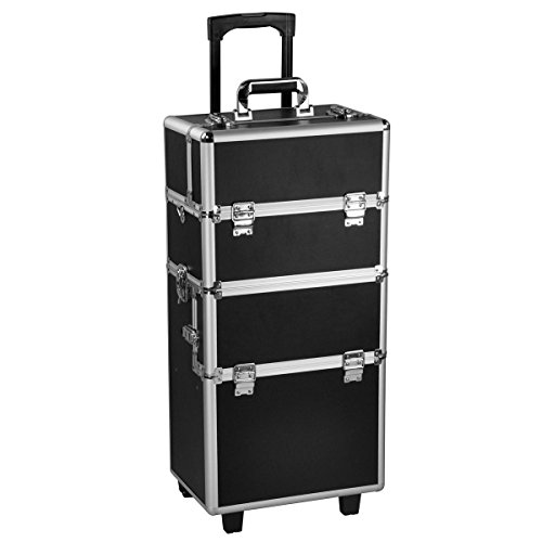 Comie 3 in 1 Pro Aluminum Rolling Makeup Case Salon Cosmetic Box Organizer Trolley Train Case Wheeled Artist Travel