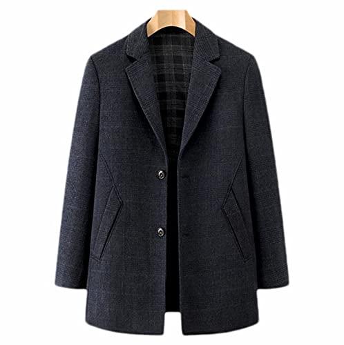 Męskie Wełna płaszcz,elegancki płaszcz z wełniany Biznes zima ciepły wełniany płaszcz kurtka Pear żakiet,męska ząbkowana klapowa pływająca płaszcz (Color : Black, Size : XL)