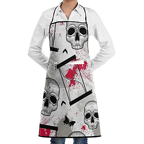 ASNIVI Delantal de cocina impermeable para hombres delantal de chef para mujeres restaurante de BBQ,Cráneo punteado, relojes de arena, mariposas, manchas y flechas en rojo y negro sobre fondo blanco.