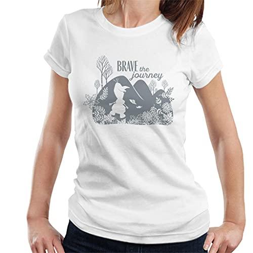 Disney Frozen II Olaf Silhouette Brave The Journey Women's T-Shirt White