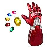 Dreariv Guante de Iron Man Infinito para Adultos, Guante de Iron Man Infinito con 6 Piedras magnéticas LED Accesorios de Cosplay de Halloween