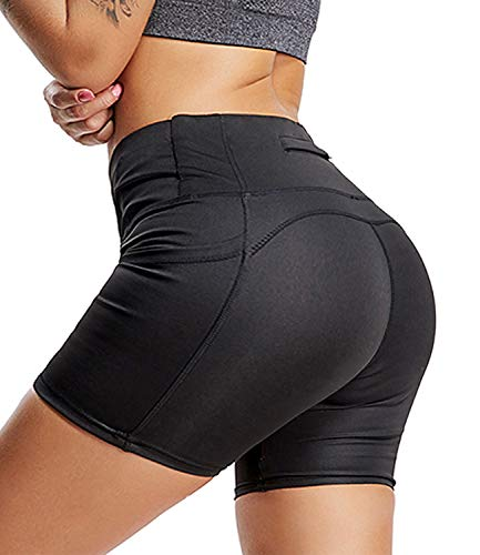YOFIT Women Yoga Shorts Ruched Butt Gym Push up Running Elastic High Waist Shorts Butt Lifting with Pockets #3 Black L