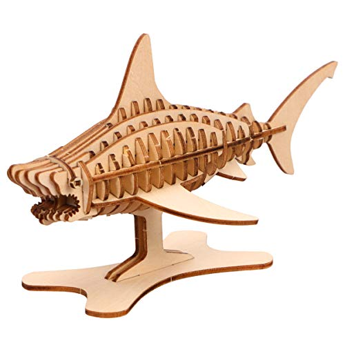 Exceart 3D Houten Puzzel Shark Puzzle Model DIY Animal Model Art Craft Shark Tafelblad Ornament Decoratie (Houtkleur)