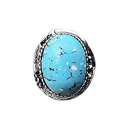 zhushuGG Handmade Turquoise Ring Blue Stone Simulated Retro Brass Ring Women Men's Vintage Jewelry Wedding Engagement Gift for Mom Girl