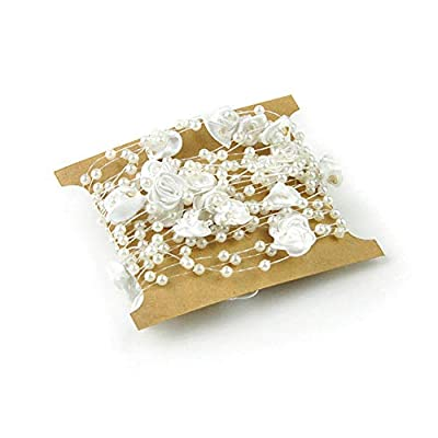 5 Meters Fishing Line Artificial Pearls Beads Chain Garland Flowers DIY Wedding Party House Decoration(White) by Beito