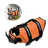 Chaleco Salvavidas para Perros Chaleco de Seguridad Reflectante Chaleco Salvavidas Ajustable para Perros Salvavidas para Mascotas Abrigo para Perros Nadar, Surfear, pasear en Bote (Naranja, Medium)