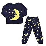 K-youth Ropa Bebe Niño Otoño Invierno Ofertas Luna Estrellas Infantil Bebé Niña Camisa de Pijama de Manga Larga para niño Camisetas Blusas + Pantalones Largos Conjuntos De Ropa(Azul Oscuro, 4-5 años)