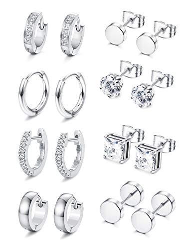 Adramata Black Stud Earrings Stainless Steel Sliver Huggie Hoop Earrings Tunnel Earring CZ Stud Earring Sets for Men 8 Pairs