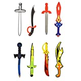 Assorted Foam Toy Swords for Children with Different Designs Including Ninja, Pirate, Warrior, and Viking (8 Pack)
