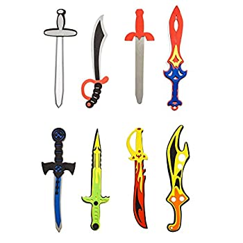 Assorted Foam Toy Swords for Children with Different Designs Including Ninja Pirate Warrior and Viking  8 Pack