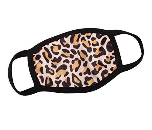 Alsino Mundschutzmaske Mundschutz Stoffmaske Maske Motiv lustig Mund- Nasenschutz Waschbar wechselbarer PM 2.5 Filter Herren, Damen, Kinder Verschiedene Motive (Leoparden-Muster)
