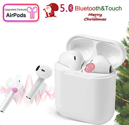 Bluetooth Headphones,Bluetooth 5.0 Earbuds,Reduce Noise with Touch-Control Pop-ups Auto Pairing Fast Charging 650mh for Apple/Android Airpods White, Touch