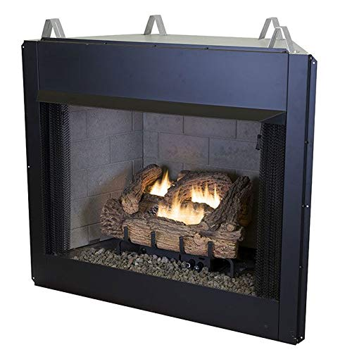 24'' Millivolt EverWarm Palmetto Oak Gas Logs and EWVF36 Firebox - LP