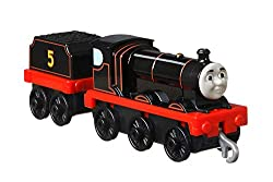 Create exciting railway adventures with this large, push-along James train engine with attached tender. ​Comes with plastic connectors to attach to other push-along and motorized TrackMaster engines, vehicles, cargo cars or tenders (Each sold separat...