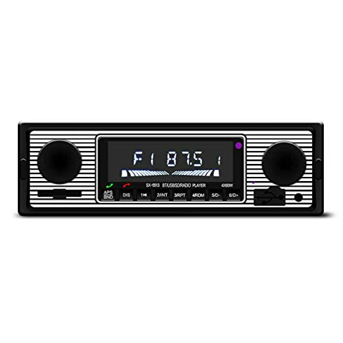 Vintage Car Wireless Radio Reproductor de MP3 Stereo USB/Aux Classic Stereo Audio FM Modulator Accesorios para automóvil (Negro)