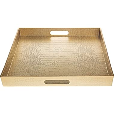 Fantastic: Square Alligator Serving Traywith Matte Finish Design (1, Square Alligator Gold)
