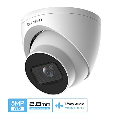 Amcrest 5MP UltraHD Outdoor Security IP Turret PoE Camera with Mic/Audio, 5-Megapixel, 98ft NightVision, 2.8mm Lens, IP67 Weatherproof, MicroSD Recording (256GB), White (IP5M-T1179EW-28MM) Bullet Cameras