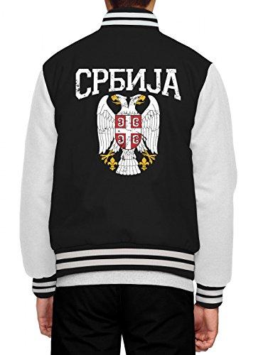 Serbien Wappen Collegejacke | Serbe | Belgrad | Balkan | Herren | Baseballjacke, Farbe:Schwarz;Größe:L