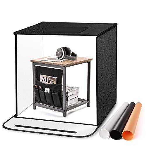 TYCKA - Caja para estudio fotográfico (80 x 80 x 80 cm, grande, plegable, para estudio de fotografía, con 2 tiras de iluminación LED de 5500 K, 3 telones de fondo (negro, blanco, beige)