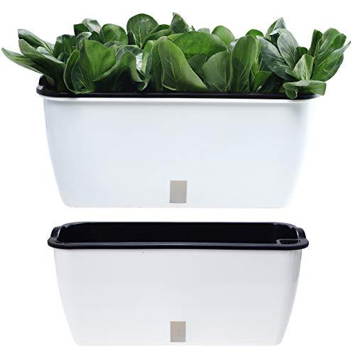 DeEFL 2 Packungen extra große selbstbewässernde Pflanzgefäße für Gemüse Innen Fenster Box rechteckiger Übertopf Kunststoff Wicking Töpfe für Gemüse, Obst, Pflanzen und Blumen, weiß