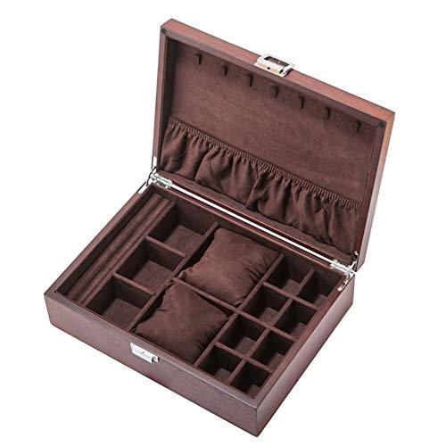 ZHAYEUK ZHAYEUK Groß Holz Schmuck-Uhrenbox Uhrenkoffer 2uhren Einzel for Herren Damen, Uhrenkasten männer Kasten Uhren Uhrenaufbewahrung for den Ehemann Uhrenschachtel (Brown 30 x 22 x 8 cm)