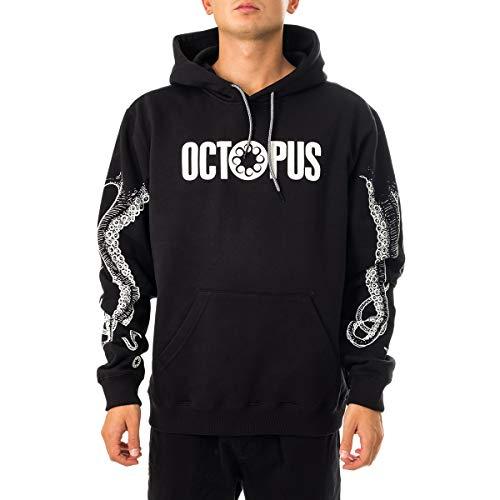 Octopus - Felpa con Cappuccio Stampa A Rilievo Petto E Braccia - Outline - Black - (L)