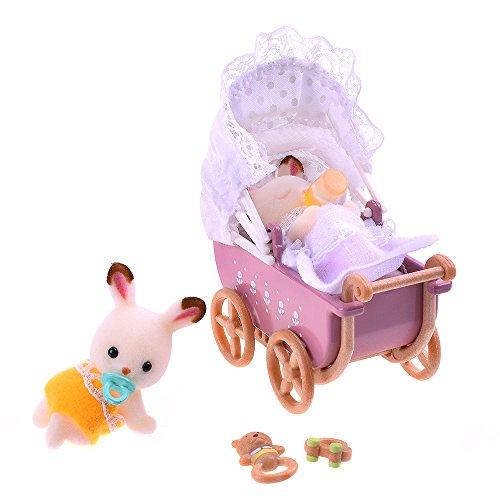 Sylvanian Families 5018 chocoladehazen baby tweelingen met kinderwagen, figuur, kleurrijk