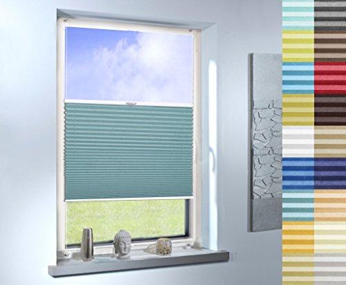 Plissee nach Maß, hochqualitative Wertarbeit, Design: Crush, für Fenster und Türen, alle Größen, Maßanfertigung (Farbe: Ägäisblau, Stoffmuster)