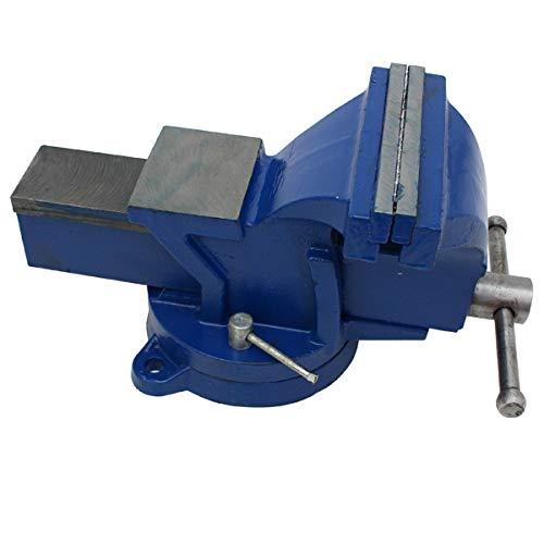 万力 リードバイス 150 mm 卓上 回転式 DIY ベンチバイス 作業台 ブルー 固定工具 作業工具 締付工具
