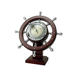 FIVE OCEANS Ship Wheel Desk Barometer FO-3969