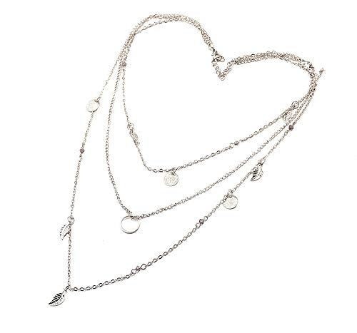 Deniferymakeup Wedding Bridal Multi-Layer Necklace Silver Round Disc Necklace Circle Chain Necklace Leaf Silver Plated Necklace Dainty Minimalist Creative Crystal Layering Necklace Gift Girls