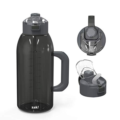 Zak Designs Genesis Durable Tritan Water Bottle with 2-In-1 Lid, Includes Handle and Portable Carry Strap, Leak-Proof Design Is Perfect for Outdoor Sports (64oz, Charcoal, Tritan, BPA-Free)