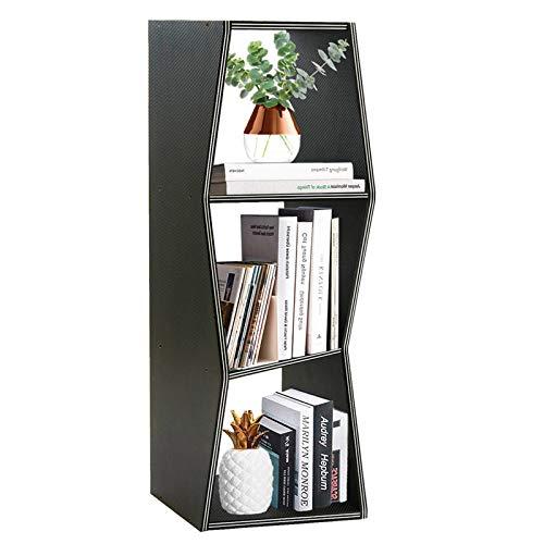 QEEIG Modern Bookshelf 3 Shelf Bookcase Small Geometric Narrow Slim Book Case Open Shelves Office...