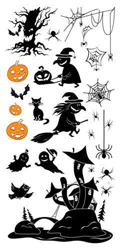 Supperb Temporary Tattoos - Spider, Spider Web, Witch, Ghost, Pumpkin Halloween Tattoos (Set of 2)