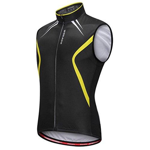 perfk Gilet Senza Maniche per Ciclismo Running Sport Traspirante Confortevole Accessori - Nero + Giallo, XL