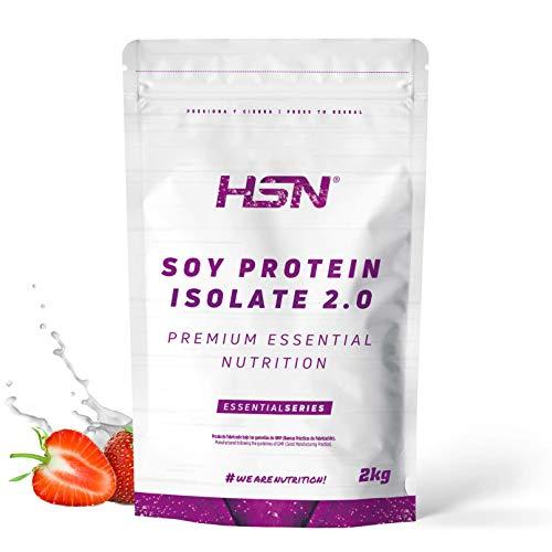 Proteína de Soja Aislada de HSN   Vegan Protein   Proteína Vegana con Stevia   Soy Protein Isolate   Sin Gluten, Sin Colesterol, Sin OMG, Sin Azúcar, Sin Lactosa, Sabor Fresa, 2 Kg