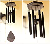 Lilone 7 Pipe Black Wind Chimes for Home Positive Energy | metal Windchimes for Balcony Bedroom with...